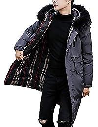 [Nana_Collection(ナナコレクション)] 秋冬 メンズ 上着 コート ロングダウン リバーシブル チェック ファー