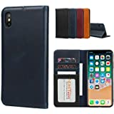 iPhone XS Max Case,iPhone XS Max Leather Flip Case,Jaorty Smooth Cowhide Leather Folio Flip Wallet Case Magnetic Cover Book D