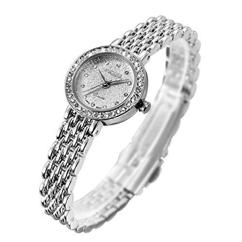 S2SQURE 腕時計 クォーツ レディース ガールズ キラキラシルバー ダイヤ設計 (ホワイト)
