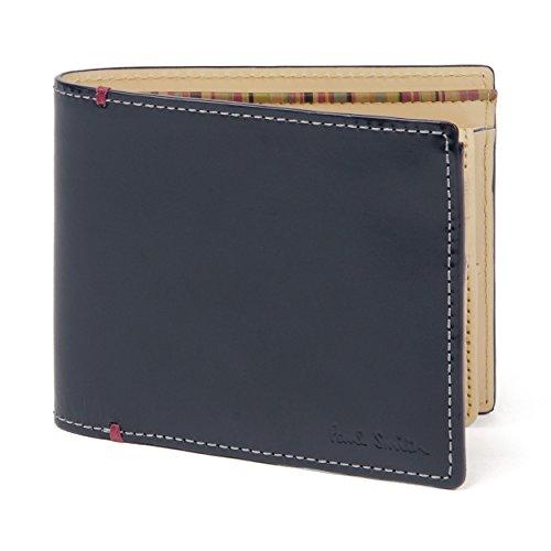 (ポールスミス) Paul Smith ブライドルレザー 2つ折り 財布 【専用化粧箱&ショップバッグ付き】 ウォレット カードケース レザー 牛革 (ネイビー)