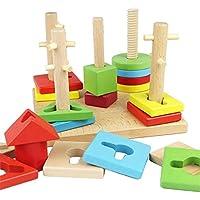 ベビーおもちゃ、子供の教育玩具、脳を発達させる 木製のカラフルな5列のブロックセット、幼児の男の子のための赤ちゃんの幾何学的形状の認知玩具女の子の年齢2 +
