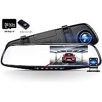 [32G SDカード付]METIS ドライブレコーダー 4.3インチ液晶 PIP機能 ルームミラー型 1080P FHD 高解像度 170°広視野角 バックミラー型 前後カメラ ドラレコ リアカメラ同時記録 Gセンサー搭載 駐車監視 動き検知 常時録画 ループ録画 暗視機能 バックカメラ付 日本語取扱説明書付