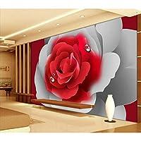 Xbwy カスタム3D壁画壁紙現代の古典的な赤いバラ柄の壁紙リビングルームの結婚式の家の家の装飾Murales3D-400X280Cm