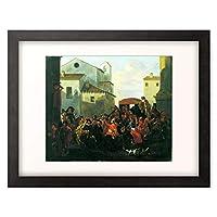 Cerquozzi, Michelangelo 「Fastnachtsbelustigung auf einem Platz.」 額装アート作品