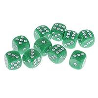 Baoblaze 10個 6面骰子 デジタルダイス サイコロ テーブルゲーム D&D MTG RPGゲーム用 アクセサリー 多種選べる - グリーン