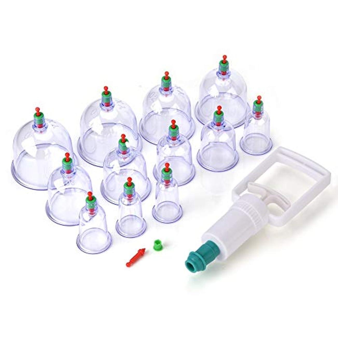 ファウルスーツタワー12 Cups With Pump Vacuum Cupping Islamic Hijama Nabawi Treatment Suction Therapy