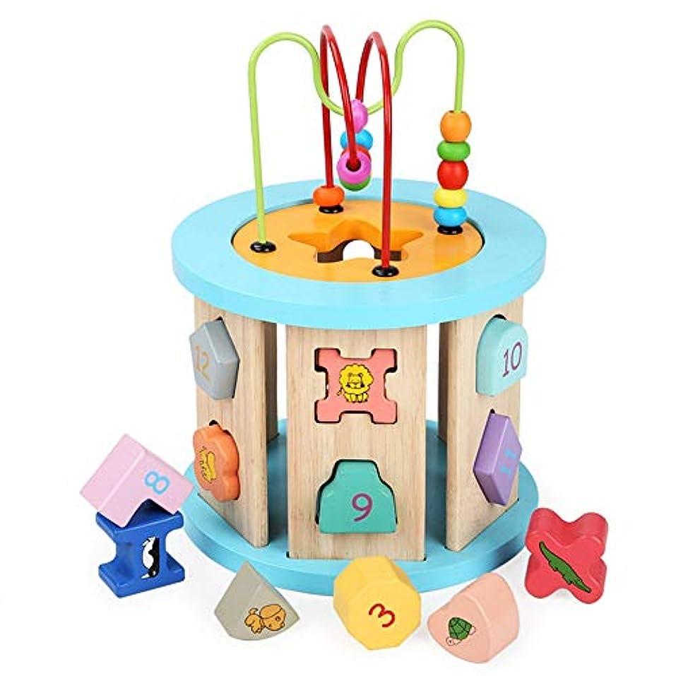 個性見物人満了ビーズのおもちゃ 子供のための初期の学習活動キューブおもちゃ大型の多機能木製活動キューブビーズ迷路教育玩具グレートギフト (Color : Multi-colored, Size : Free size)