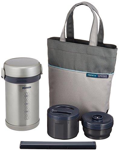 象印マホービン(ZOJIRUSHI) 保温 ステンレス 弁当箱 ランチジャー 茶碗 約1.5杯分 約 0.6合 電子レンジ 対応 ランチバッグ 付き シルバー SL-NC09-ST