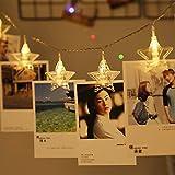 星の形クリップ LEDストリングライト 20LED写真/絵クリップ DIY吊り下げる飾り 3.6M イルミネーションライト 電池駆動式 クリスマス/新年/結婚式/誕生日/パーティー (ウォームホワイト)