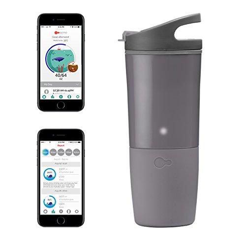 Ozmo Watertight充電式BluetoothスマートカップHydrationトラッカーwith IOS / Android AppとLEDインジケータ グレイ