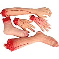 (5pcs/Set Parts) - E-FirstFeeling Severed Hands Feet 5pcs/set Scary Bloody Broken Body Parts Halloween April Fool Prank Props Decorations (5pcs/set Parts)