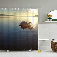 動物の白鳥子供用カーテン かわいい シャワーカーテン ポリエステル製 防水 防カビ 防滴加工 厚手速乾性 カーテンリング付