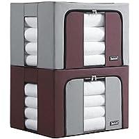 artlounge折りたたみ式ホームオーガナイザー家庭用毛布服ストレージOversize、2のセットキルトバッグ整理整頓クローゼット寝室、透明ウィンドウ 2 Pack (19.6x15.7x13.0inch)