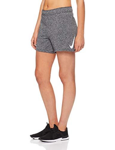 Nike Women's Dri-Fit Swoosh Short, Black/Heather/White, Medium