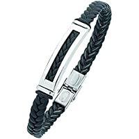 Bevilles Stainless Steel Black Mens Braided Bracelet