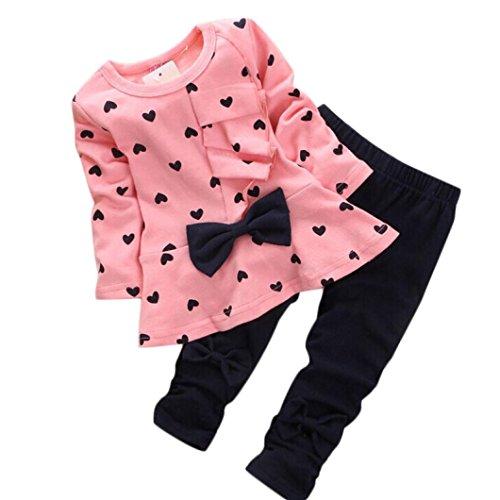 Tonsee 베이비 걸즈복 상하 세트 귀여운 하트 패턴 장 결속 셔츠+바지 2점 세트-