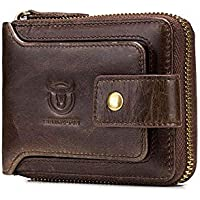 Genuine Leather Men Wallet Zipper, Womdee Mens Leather Flipout ID Wallet Bifold Trifold Hybrid for Men Large Capacity ID Window Card Case with Zip Coin Pocket, Coffee