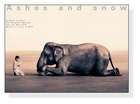 ポスター グレゴリー コルベール Ashes and snow 象に本を読んで聞かせる少年