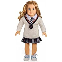 Doll Clothes for 18 Inch American Girl Dolls 3PC White Sweater School Uniform Set by sweet dolly