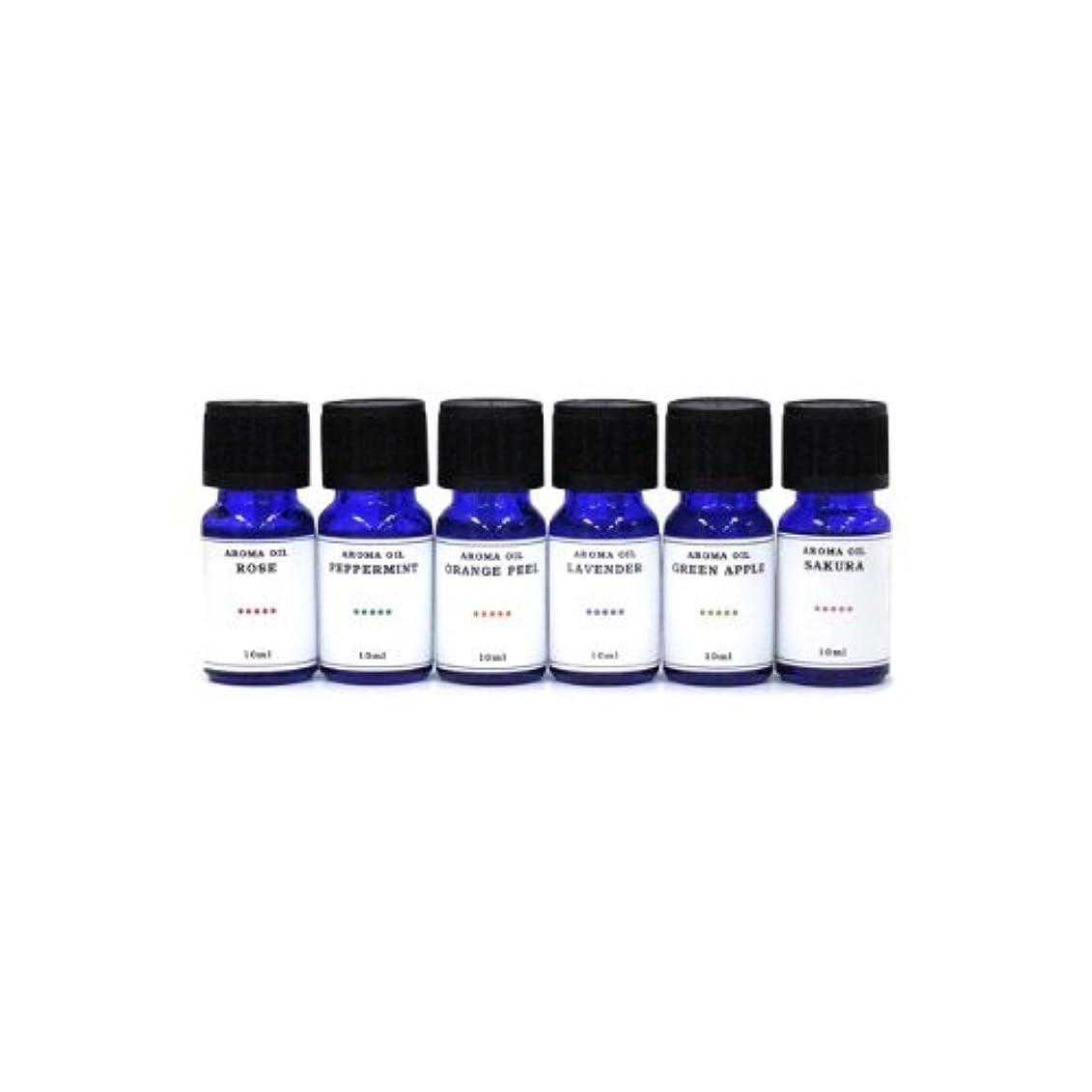 簡単に沿って不純水溶性アロマオイル 6種の香りセット ラベンダー/ペパーミント/オレンジピール/サクラ/グリーンアップル/ローズ