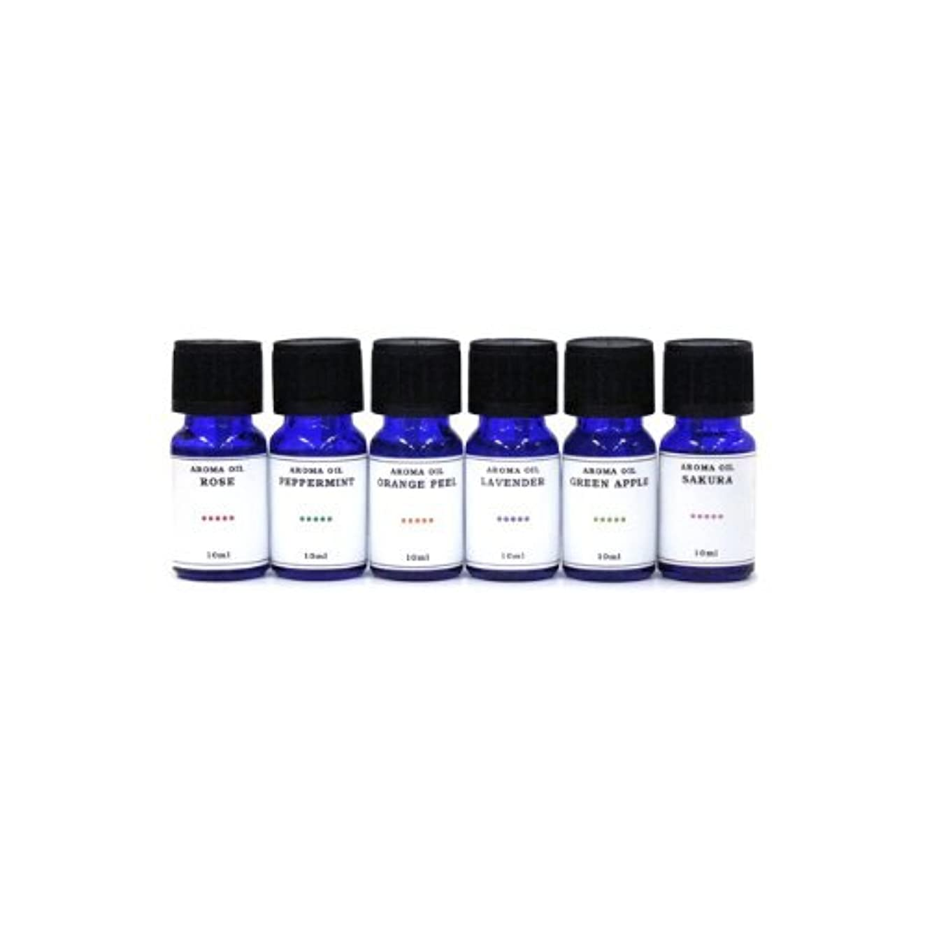装備する落ち着く糞水溶性アロマオイル 6種の香りセット ラベンダー/ペパーミント/オレンジピール/サクラ/グリーンアップル/ローズ