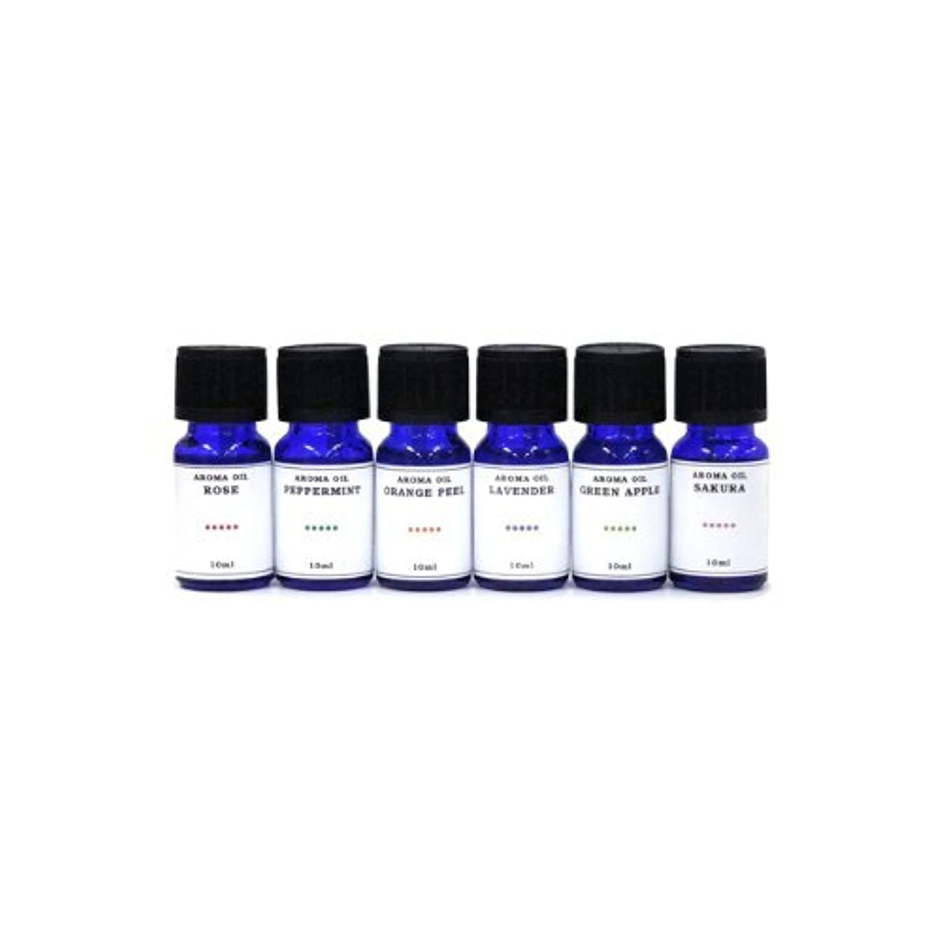 隠狂う両方水溶性アロマオイル 6種の香りセット ラベンダー/ペパーミント/オレンジピール/サクラ/グリーンアップル/ローズ