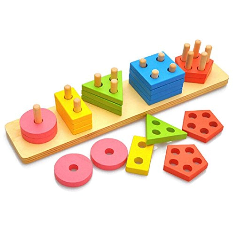 HuaQingPiJu-JP カラフルな木製の色と形状の幾何学的な並べ替えのボードクリエイティブ玩具