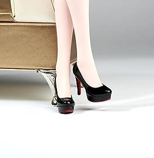1/6スケール シューズ ハイヒール 靴 12 インチフィギュアに アクションフィギュア靴 PHICEN 1/6 素体 (ブラック)
