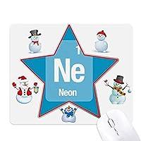 旧姓はネオン元素科学 クリスマス・雪人家族ゴムのマウスパッド