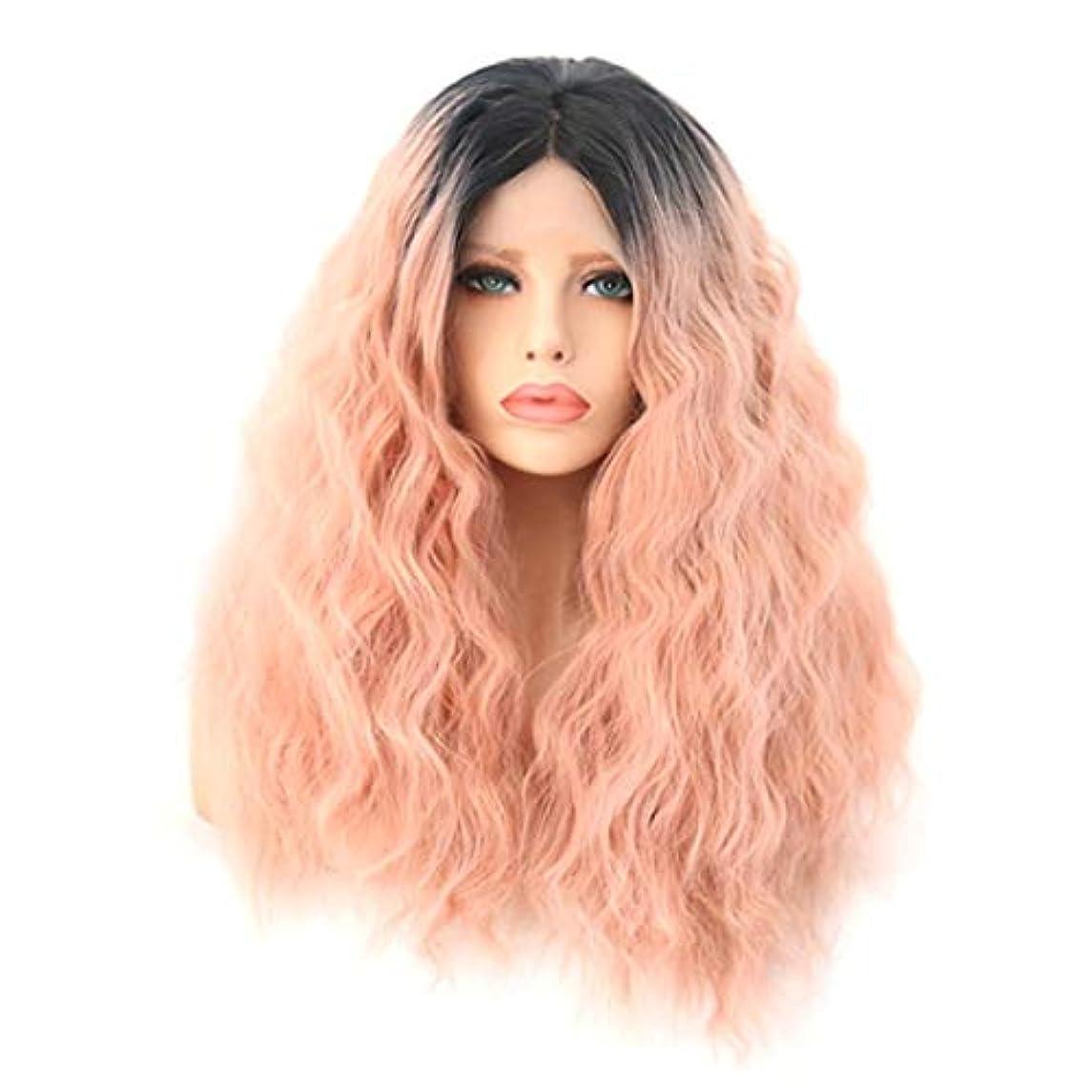 気楽な本質的ではないカメKerwinner 女性のための自然な探している前部レースの合成繊維の毛髪のかつらと長い巻き毛のかつらのかつらの代わりのかつら (Size : 18 inches)