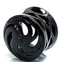ボディーピアス 0G メンズ プラグ フレア トンネル 埋め込み型 リング 丸型 ブラックラティスプラグ(雷神)サイズ バラ売り プレゼント 耳 人気