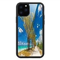 iPhone 11 Pro Max 用 強化ガラスケース クリア 薄型 耐衝撃 黒 カバーケース ビーチ 舗装されていない美しい街路樹 iPhone 11 Pro 2019用 iPhone11 Proケース用