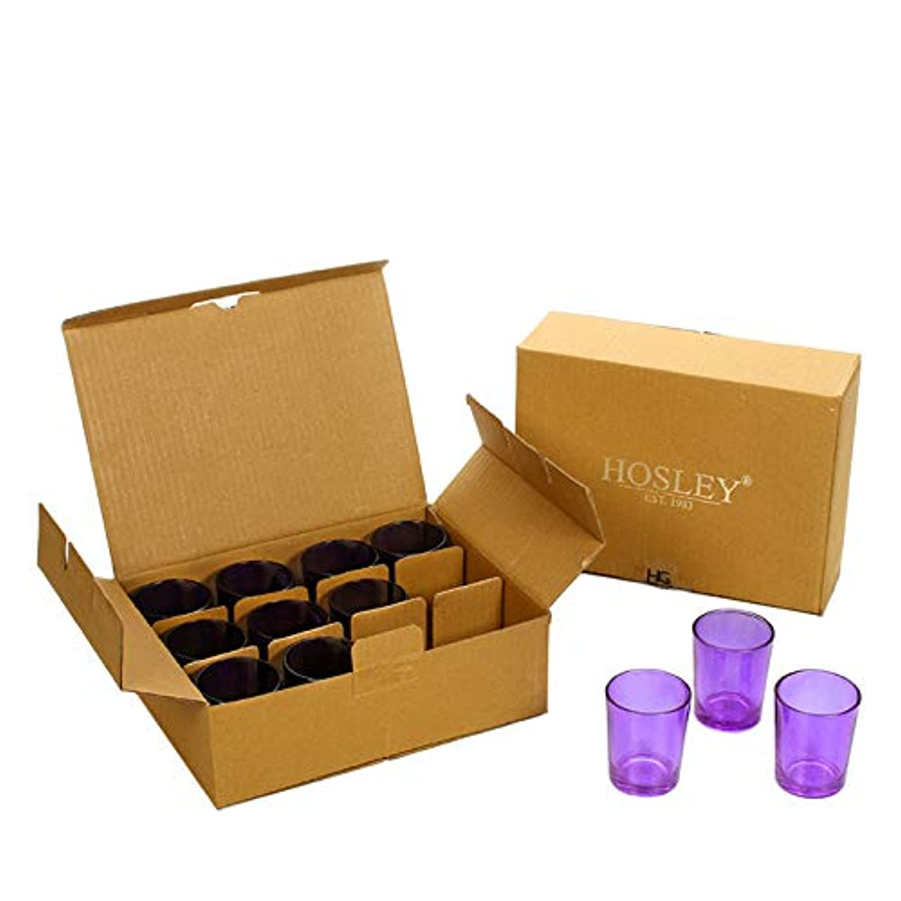 電信図マーカーHosley's Set of 24 Purple Glass Votive/Tea Light Holders. Ideal for Weddings, Parties, Spa & Aromatherapy, Votive Candle Gardens. Use with Hosley Tea Lights, Bulk Buy