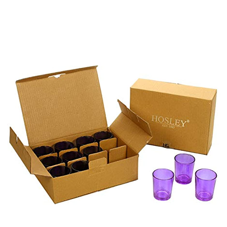 穿孔するアーカイブ退屈Hosley's Set of 24 Purple Glass Votive/Tea Light Holders. Ideal for Weddings, Parties, Spa & Aromatherapy, Votive...