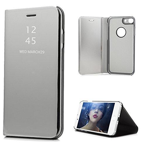 iPhone7 ケース ミラー 鏡面 手帳型 高級PUレザー...