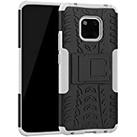 CHENJUAN Dual Layer Hybrid Armor Kickstand 2 in 1 Shockproof Case Cover Design for Huawei Mate 20 Pro (Color : White)