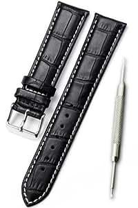 【白ステッチ 本革製 クロコダイル型押し 黒 20mm】時計ベルト 時計バンド ストラップ 交換 腕時計【バネ棒外しセット】