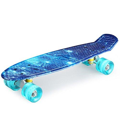enkeeo スケートボード 22インチ クルーザー ABEC7製ベアリング 高精度 集中力や平衡感覚育成 スケボー初心者におすすめ 大人/若者/子供用 誕生日プレゼントなどに 海洋 YWHB-27【メーカー保証】