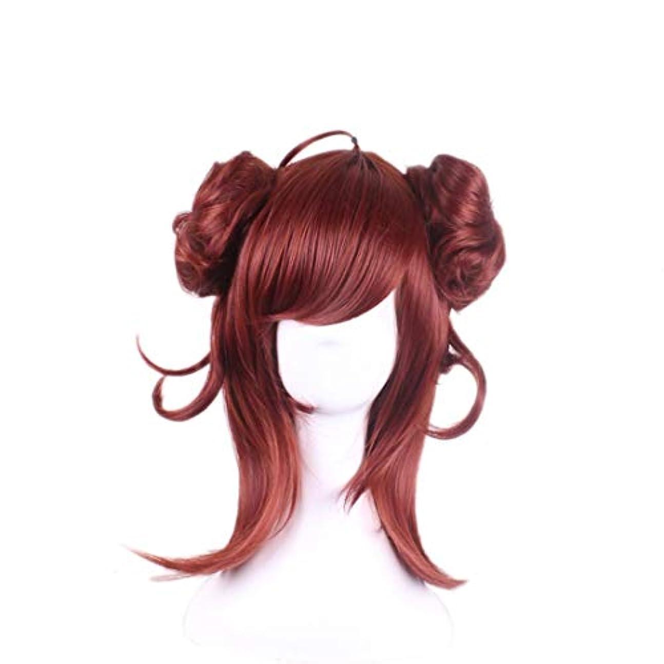 入射含めるいたずらなJIANFU コスプレウィッグロングカーリーヘアウィッグレッドブラウン魅惑的なかつら (Color : Red-brown)