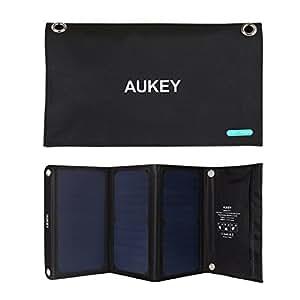 AUKEY ソーラーチャージャー ソーラーパネル 21W 2USBポート 折り畳み式 iPhone 6 iPad Air2 Xperia Z5 Galaxy S7 Android各種他など スマホ スマートフォン タブレット モバイルバッテリー 対応 ソーラー充電器 アウトドア ポータブル USB充電器 PB-P4