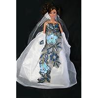 White Floral Barbie Sized Doll Wedding Dress