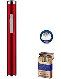 USB充電式ライター ポケット 無炎 防風 電子スリムライター ライター 繰 り返し充電することができま (赤)