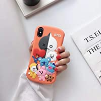 [TOFATU] 防弾少年団 LINE FRIENDS 可愛シリコン製ブラウンiphone 携帯ケース クマ携帯ケース スマホケース シリコン製 (iPhone 7 / 8,Style 1)