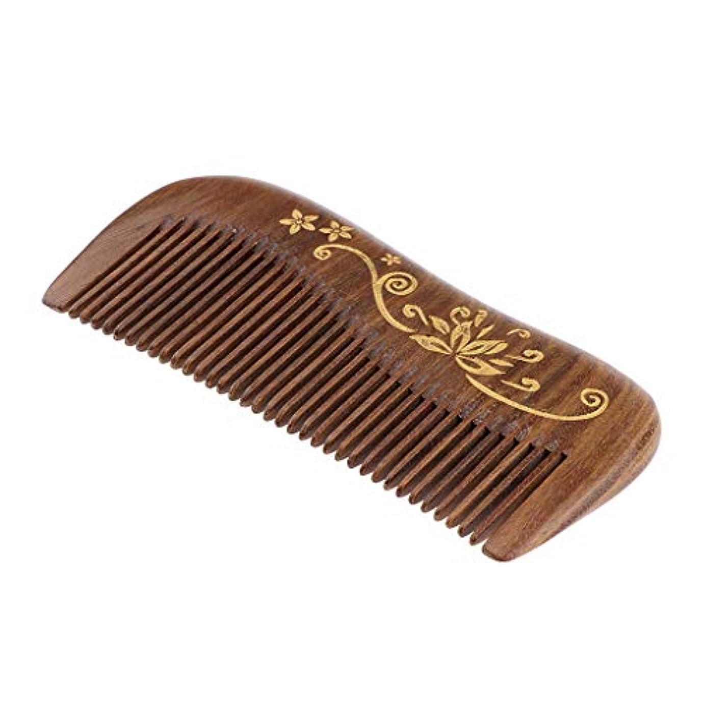 震え悪因子アスリート絶妙な彫刻の広い歯のもつれをほどく木材の櫛は毛の破損の割れ目を減らします - #4