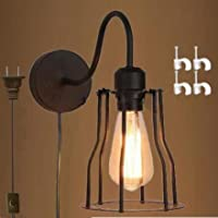 Kivenヴィンテージ壁ランプwithプラグ1.8MブラックスイッチラインUL Listed電球付属( bd0203)