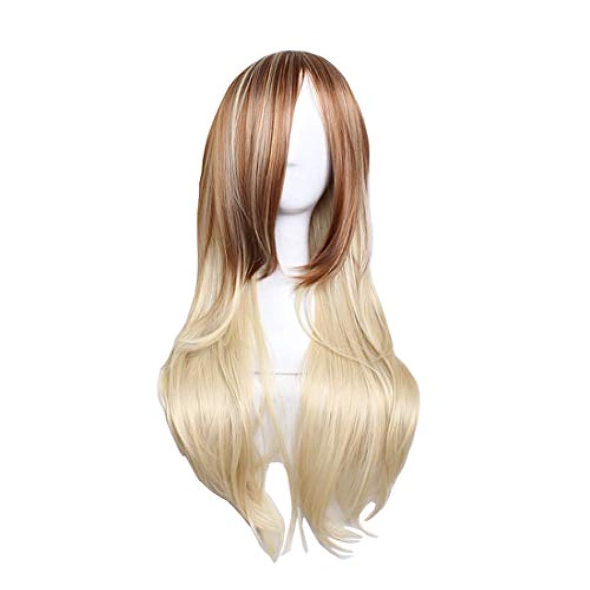 分離摂氏適応するJIANFU コスプレ ファッション ロング バンズ 長い カーリー 髪 グラデーション ゴールデン ビッグ ウェーブ ウィッグ (Color : Brown gradient pale gold)