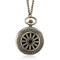 Warreal 1 Pcs Bronze Quartz Pocket Watch Roman Numerals Dial Hollow Wheel Case with Chain