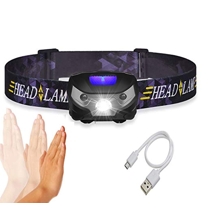 背が高い雄弁作家HSBAIS ヘッドライト LED、軽量 USB 充電式 ヘッドランプとセンサー、高輝度 両手が自由 ヘルメットライト,black