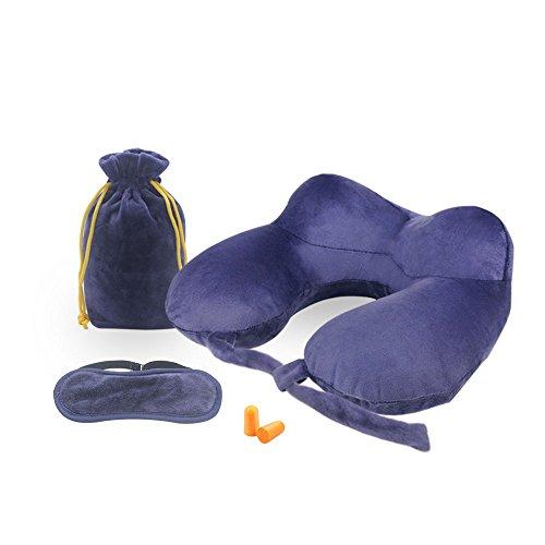 ネックピロー DISIFEN 携帯枕 トラベルピロー 旅行用エアーピロー U型枕 ネックサポート首枕 アイマスクと耳栓 収納袋付き