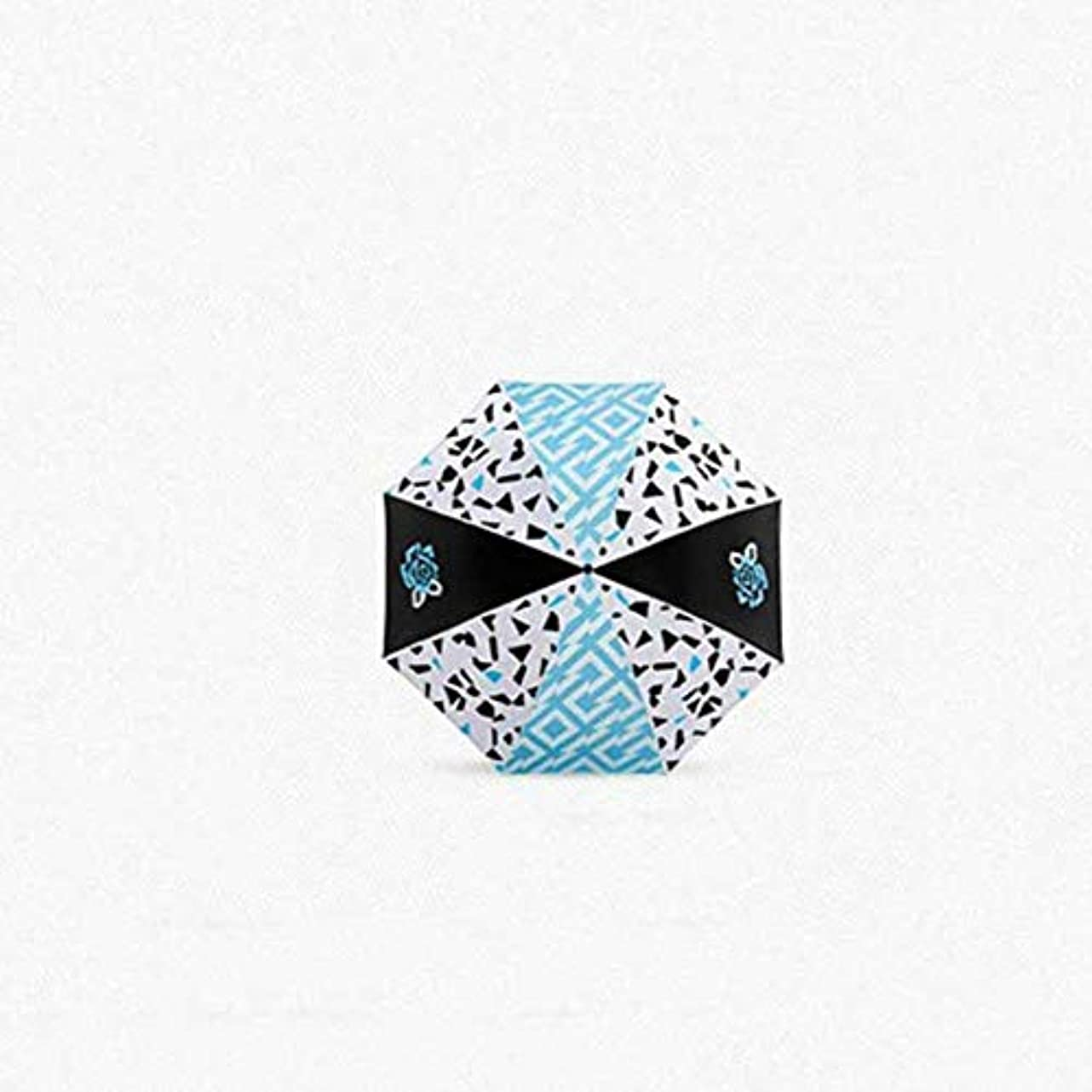 忌み嫌う脚サルベージChuangshengnet 傘ビニール傘UV保護傘折りたたみ傘印刷傘 (Color : 青)